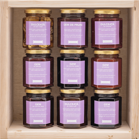 Branded jam jars with labels containing short stories