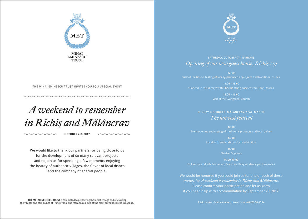 The Mihai Eminescu Trust (MET) invitation front and back layout