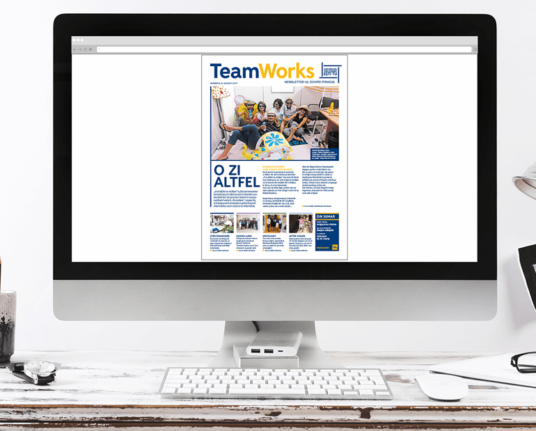 Online internal newsletter TeamWorks as seen on a computer, created for Piraeus Bank in Romania