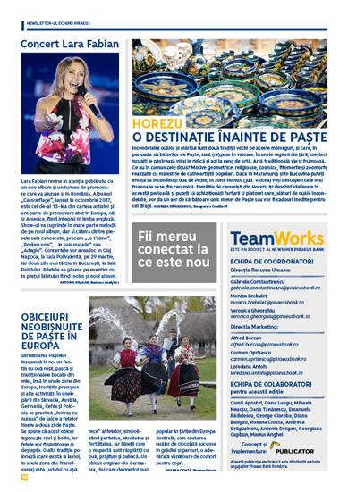 TeamWorks, Piraeus Bank Romania, back cover section with short mondain news, travel destinations and the list of the team involved in the project